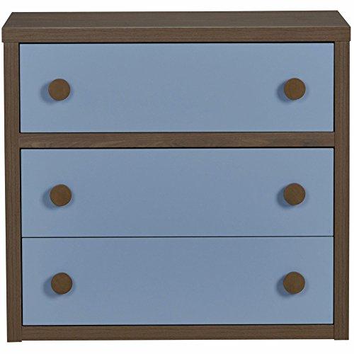 Little Seeds Sierra Ridge Terra 3 Drawer Dresser, Walnut/Blue by Little Seeds