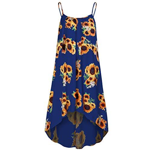 (Tantisy ♣↭♣ Women Sexy Sleeveless Sunflower High Low Boho Print Dress Fashion Summer Casual Chiffon Miniskirt Blue)