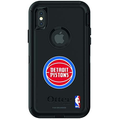 (Fan Brander NBA Black Phone case, Compatible with Apple iPhone X and iPhone Xs and with OtterBox Defender Series (Detroit Pistons))
