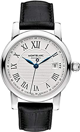962d17aa095 Image Unavailable. Image not available for. Color: Montblanc Star Date  Automatic Silver Dial Black Leather Mens Watch 107114