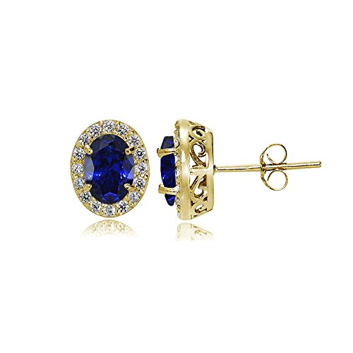 Yellow Gold Flashed Sterling Silver Created Blue Sapphire and Cubic Zirconia Accents Oval Halo Stud Earrings (Amethyst Sapphire Stud)