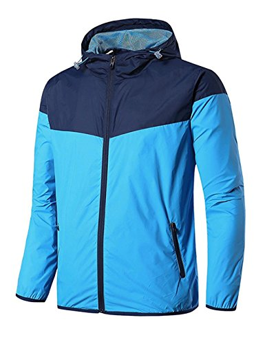 Jingjing1 Mens Windbreakers Lightweight Hooded Nylon Couch's Jacket Coat Pullover (L, (Lightweight Nylon Pullover)