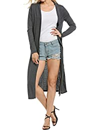 Women's Casual Open Front Long Sleeve Cardigan Sweater with Pocket