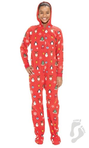 Footed Pajamas - Holly Jolly Christmas Kids Hoodie One Piece ... f040cf226