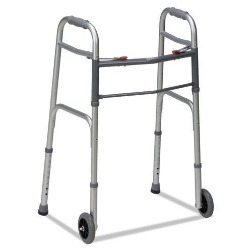 DMI 80210450600 Two-Button Release Folding Walker with Wheels Silver/Gray Aluminum 32-38''H