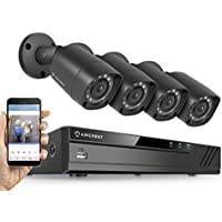 Amcrest HD 720P 4CH Video Security System w/ Four 1.0 Megapixel IP67 Outdoor Bullet Cameras, 65ft Night Vision, 1TB HDD, (AMDV7214-4B-B)