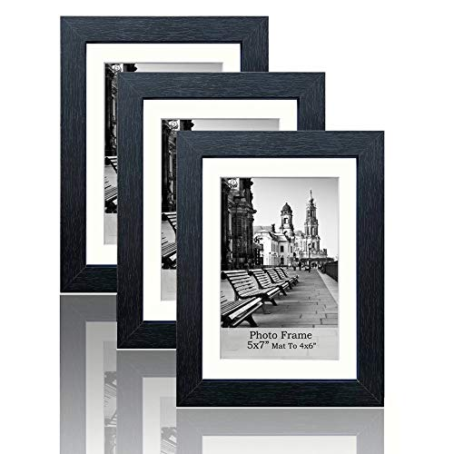 meetart Black Picture Photo Frames 5x7 inch Pack of 3 Piece Made of MDF Wood, Display Pictures 5x7 and 4x6, Table Top Stand and Wall Hanger Vertical and Horizontal. ()
