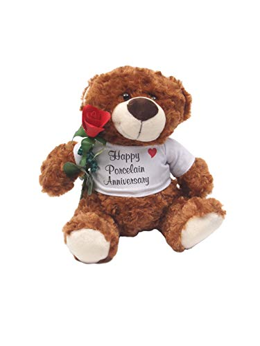 JustPaperRoses Happy 20th Wedding Anniversary Teddy Bear with Porcelain Rose Gift