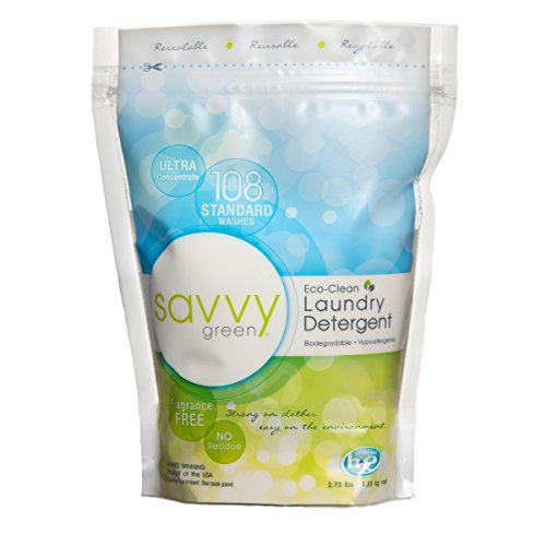 Savvy Green 108 Standard Wash Eco Clean Laundry Detergent Powder, 2.73 (Eco Clean Green)