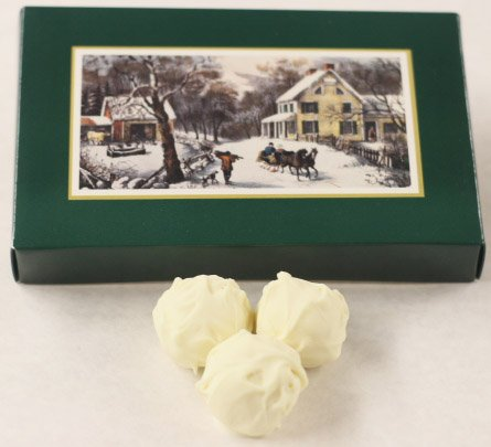 Scott's Cakes White Chocolate Covered Black Walnut Cream Bon-Bons in a 1 Pound Homestead Box