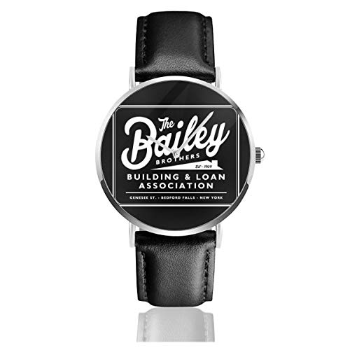 Unisex Business Casual Its A Wonderful Life Baileys Brothers Building and Loans Association Watches Quartz Leather Watch with Black Leather Band for Men Women Young Collection Gift