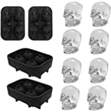 3D Skull Ice Mold-2Pack,Easy Release Silicone Mold,8 Cute and Funny Ice Skull for Whiskey,Cocktails and Juice Beverages…