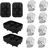 Ice Cube Tray 3D Skull Ice Mold-2Pack Easy Release Silicone mold 8 Cute and Funny Ice Skull for Whiskey Cocktails and Juice B