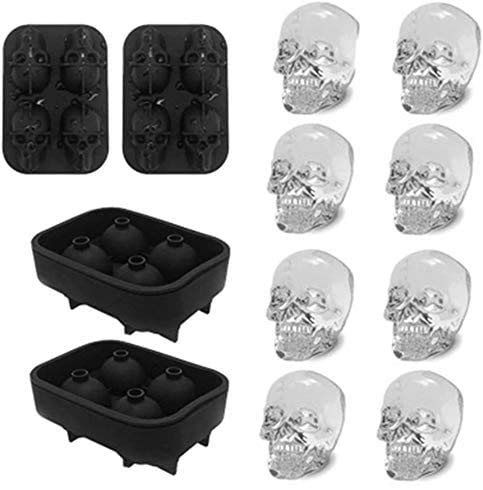 Ice Cube Tray 3D Skull Ice Mold-2Pack Easy Release Silicone mold 8 Cute and Funny Ice Skull for Whiskey Cocktails and…