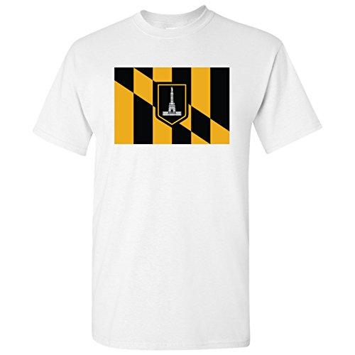 Baltimore US City Flag Basic Cotton T-Shirt - Large - (Baltimore Flag T-shirt)
