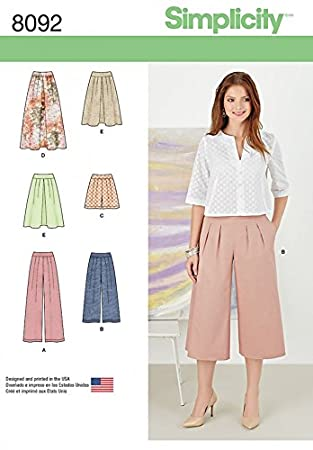 Simplicity Damen Schnittmuster 8092 Röcke, Hose, CULOTTE und Shorts ...