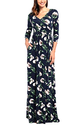 Comila Beach Maxi Dresses for Women Ladies Wrap Formal Long Dress Classic Floral V Neck Wedding Dress with Sleeves Navy Blue Green XL (US 16-18)