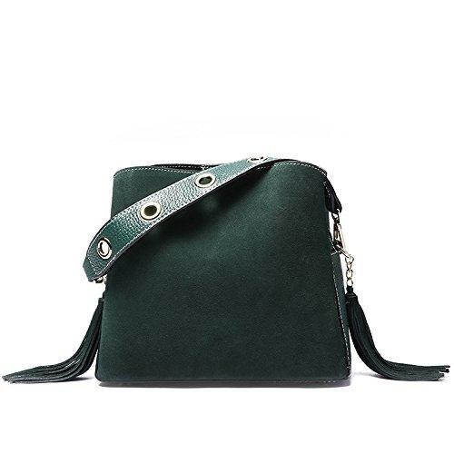 GUANGMING77 Quaste Handtasche_Frosted Tide Schaufel Kopf Schicht Schulter Messenger Bag Lady green