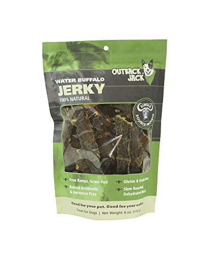 Outback Jack Water Buffalo Jerky Dog Treats (Grain Free Dog Treats for Small & Large Dogs) [Resealable Bag, 6 oz.] ()