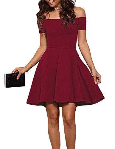 EZBELLE Womens Sexy Off The Shoulder Short Dress Cocktail Skater Dresses Burgundy Large