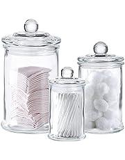 Glass Apothecary Jars with Lids - Set of 3 - Small Glass Jars for Bathroom Storage / Qtip Holder / Cotton Swab Holder - Glass Jar with Lid for Laundry Room Storage, Bathroom Canisters, Mason Jar Bathroom Accessories Set - Bathroom Jars for Bath Salts