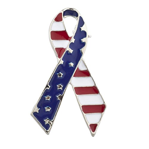 Lux Accessories American Flag Silver Tone Ribbon Brooch Pin