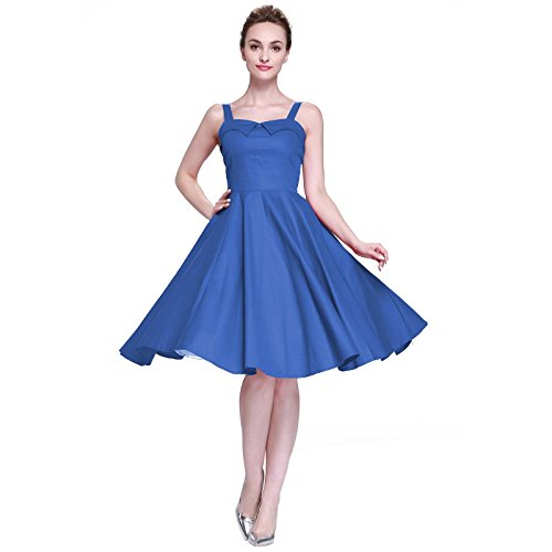 [Heroecol 50s 60s Hepburn Straps Backless Style Vintage Dress Retro Swing Rockailly Dresses, XXL,] (1960s Vintage Halloween Costumes)