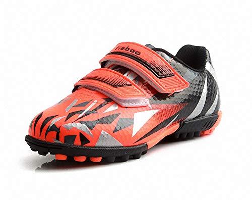 T&B Kids Futsal Shoes Indoor Soccer Football Boots Adjustable Strap Hook Loop Black/Orange C76516-Ju-27-10US