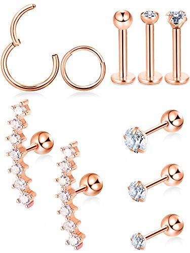 Blulu 10 Pieces Cartilage Tragus Earrings Set Labret Studs Barbell Earring CZ Inlaid Steel Ear Ring for Tragus Lip Nose Ears Body Jewelry, 10 Types (Rose-Gold) (Tragus Rings)