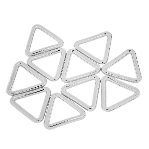 (10pcs Metal Closed Triangle Shaped Backpack Strap Keeper Loop Ring Buckles 19mm (Color - Sliver))