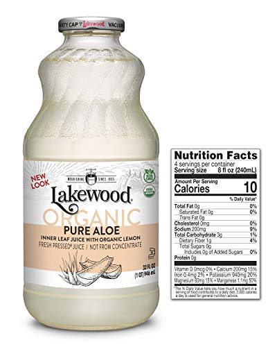 Lakewood Organic PURE Aloe Inner Leaf Juice, 32-Ounce Bottles (Pack of 6)