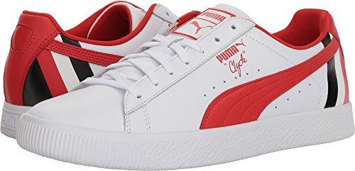 Puma Clyde - PUMA Clyde Stripes Mens White Canvas Lace up Sneakers Shoes 10