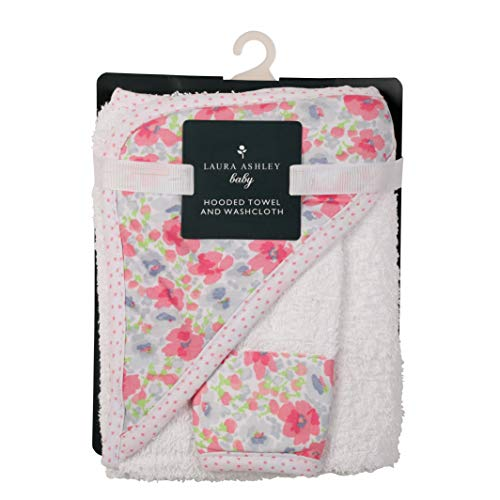 Laura Ashley Infant Hooded Towel and Washcloth, Flowers Print]()