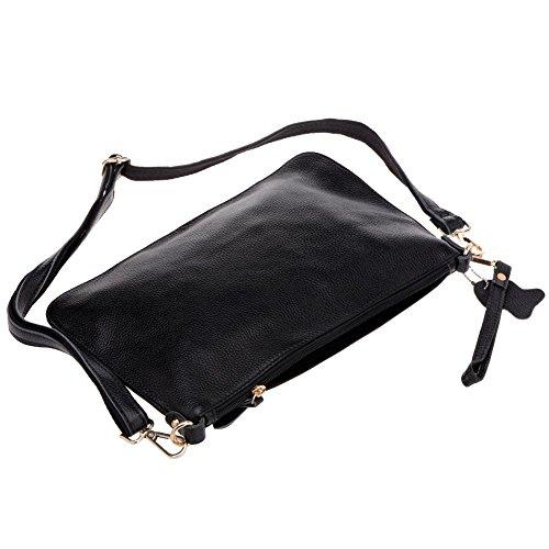 Vbiger Women's Clutch Bag Simple Leather Wallet Small Envelope Tote Bag (Black)