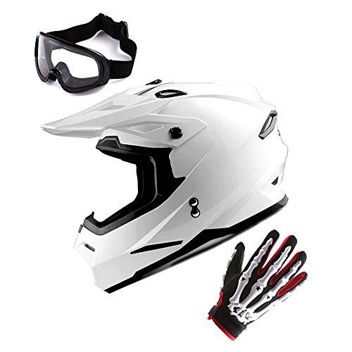 1Storm Youth Motocross Helmet BMX MX Bike Helmet Teenager Racing Style DOT; Glossy White + MX Goggles + MX Skeleton Gloves Bundle