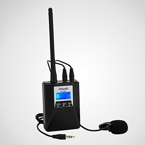 FMUSER 0.2w Portable FM Radio Transmitter With Antenna, Rechargeable Low Power House Pocket Audio Transmitter, 76-108Mhz for Light Show/Tourist Guide/Conference/Drive-in Cinema, with Microphone