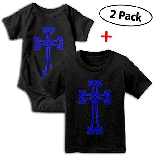 RolandraceArmenian Cross Christian 2PCS Newborn Baby Print Cotton Short Sleeve Bodysuits+T-Shirt Set Black