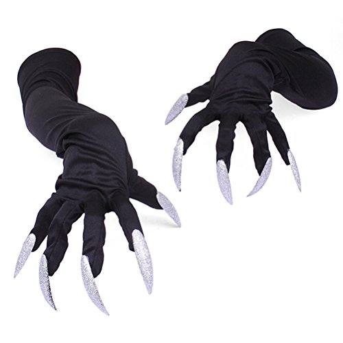Amosfun Gloves Halloween Nails Halloween Party Costume Gloves Attached Long Fingernails,Pack of 2 (Black)]()