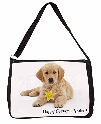 Personalised Name Golden Retriever Large 16 Black School Laptop Shoulder Bag