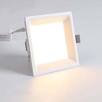 Hejuy Panel cuadrado de techo de 12W LED de luz Embedded Embedded Foco Downlight interior casera moderna del dormitorio de la lámpara de techo comercial Escalera Interior Comercial: Amazon.es: Iluminación