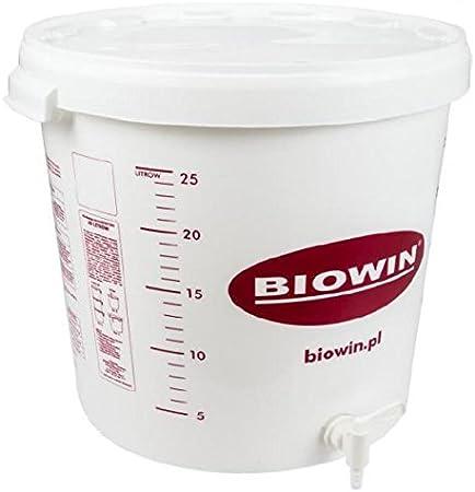 Fermentador de plástico de 30 l con Tapa + Grifo de plástico - Cubo de plástico para fermentación | Fermentador | Depósito de fermentación | Contenedor de plástico