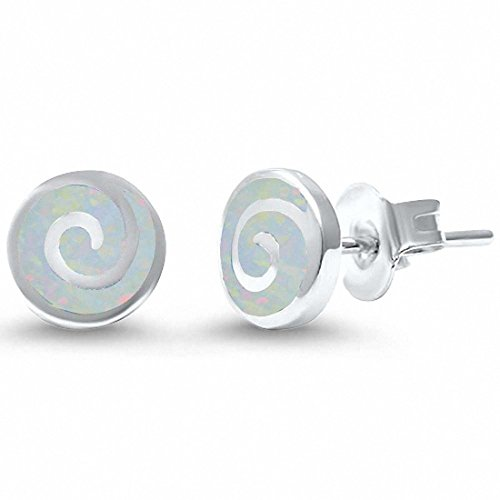 Opal Swirl Ring (Round Spiral Swirl Stud Earrings Lab Created White Opal 925 Sterling Silver)