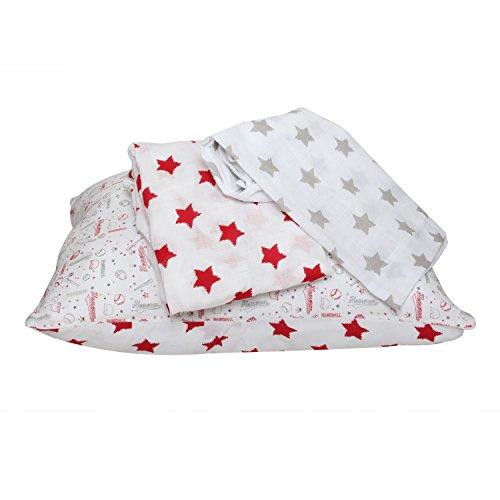- Bacati Baseball Muslin 3 Piece Toddler Bedding Sheet Set, Red/Grey