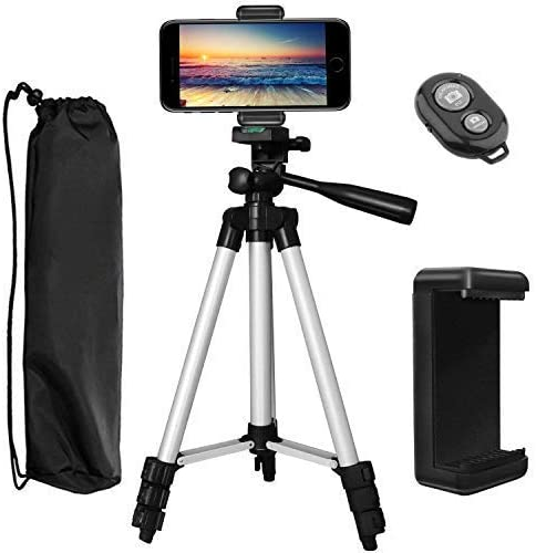 Smartphone Holder Bluetooth Remote Shutter Carry Bag Compatible for iPhone XR Xs Max X 8//7//6//6S//Plus Stabilizer 43 Inch Aluminum Lightweight Portable Camera Tripod CheetahGrass Phone Tripod