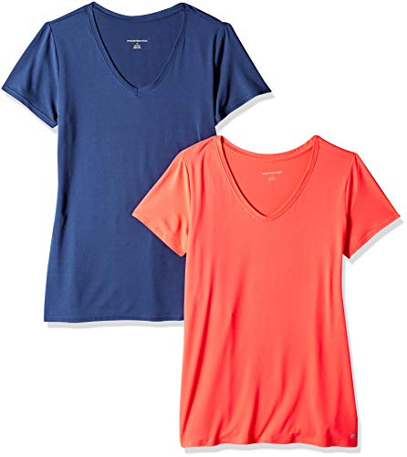 (Amazon Essentials Women's 2-Pack Tech Stretch Short-Sleeve V-Neck T-Shirt, Bright Pink/Navy, Large)