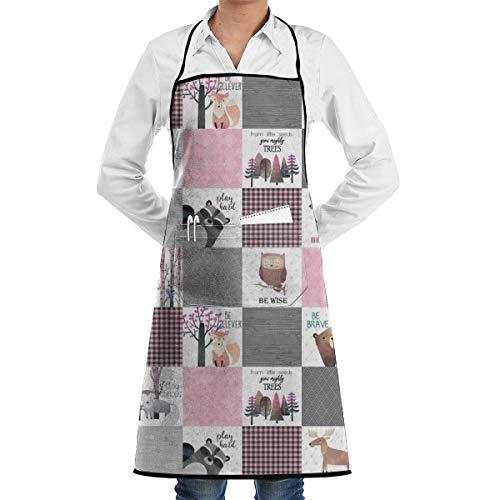 (Yunilya Woodland Critters Quilt Bear Moose Fox Raccoon Wolf Design Aprons for Women Men Girls - Custom Cooking Waist Chef BBQ Adjustable Waterproof Apron)