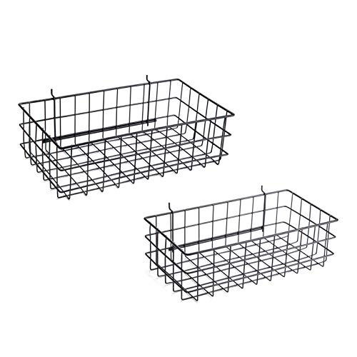 Pegboard Basket Set of 2 - XLarge + Large Size Basket, Black - Hooks to Any Peg Board - Organize Tools, Workbench, Accessories, Garage Storage - Wall Organizer Attachments