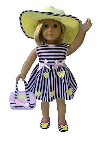 Mangopeaches 18  Doll Butterfly Garden Dress   Fits American Girl Dolls   4 Pc Deluxe Set   Doll Dress   Doll Hat   Doll Purse   Doll Shoe   Usa Company  Designed In Usa   Great Value Pack