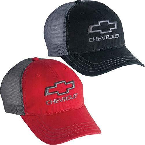 Chevrolet Chevy Bowtie Black Hat Cap Open Bowtie Garment Washed Trucker MESH New