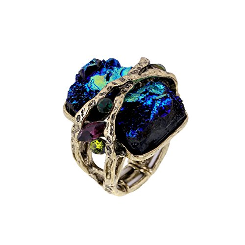 KAYMEN FASHION JEWELLERY Cubic Gem Resin Stone with Crystal Elastic Stacking Rings Antique Gold and Silver Tone 3 Colors (Green)